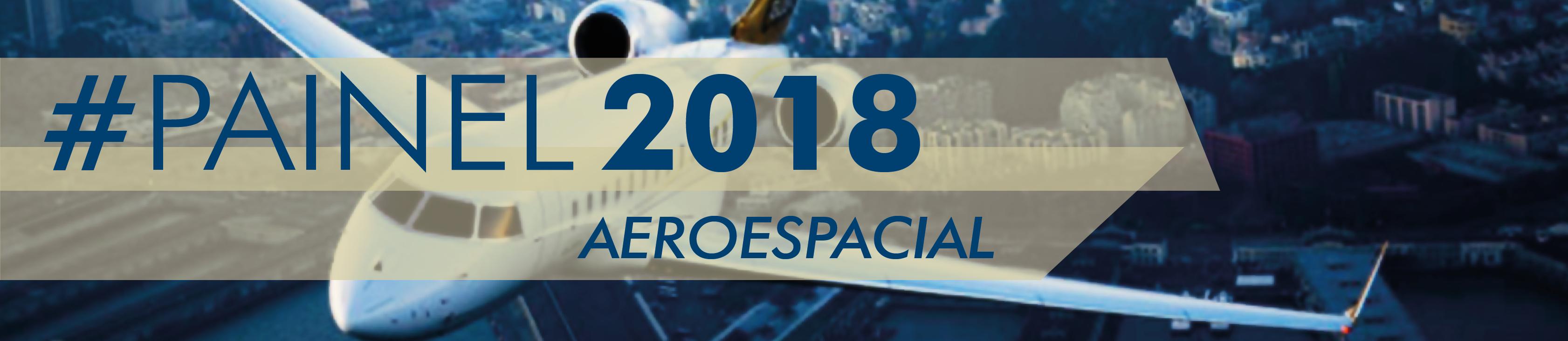 Banner do painel Aeroespacial com a data, horário e local